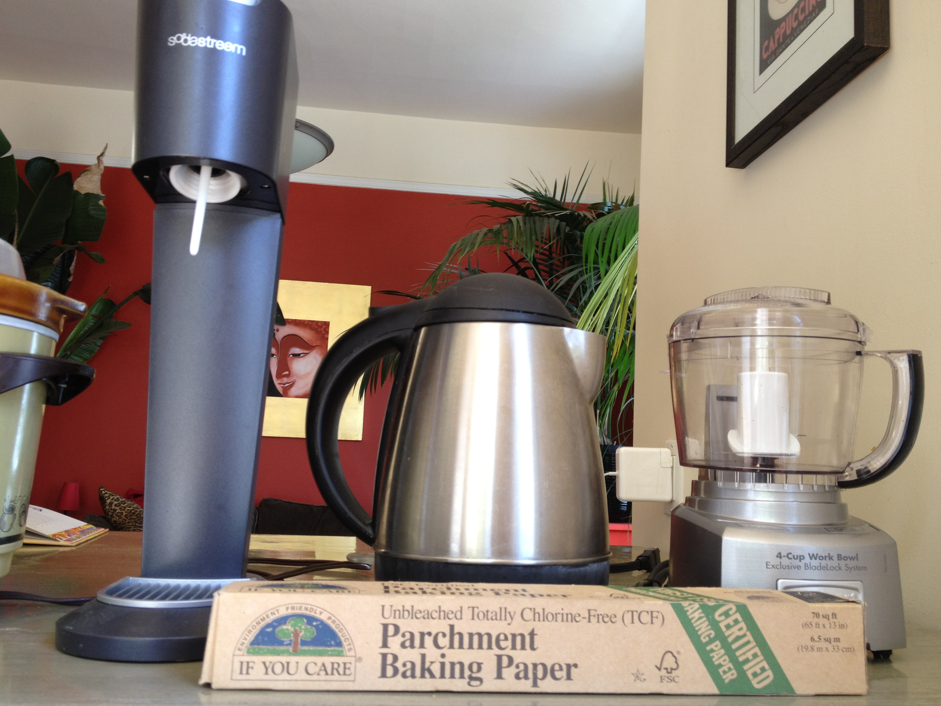 Soda stream, electric kettle, food processor, parchment paper